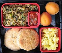 herbed potatoes, whole wheat biscuits, fresh apricots, scrambled eggs and salsa fresca
