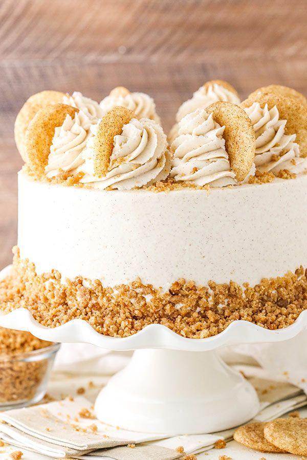 Snickerdoodle Layer Cake | The Best Thanksgiving Dessert Idea! -  This easy Snickerdoodle Layer Cake is full of cinnamon and sugar! Four layers of moist cinnamon cak - #Cake #dessert #Dessertsfacileetrapide #Dessertsforacrowd #Dessertsvideos #Dessertsweihnachten #fancyDesserts #idea #Layer #nobakeDesserts #Snickerdoodle #Thanksgiving #thanksgivingDesserts