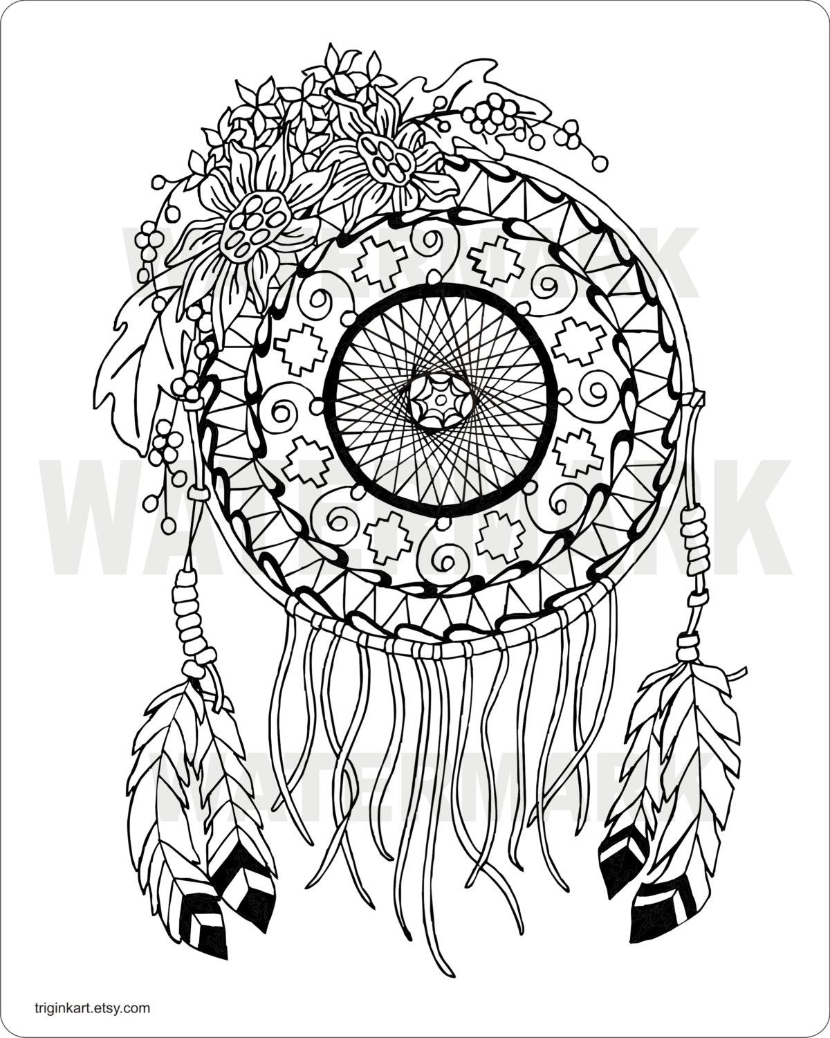 Sunflower Dream Catcher Adult Coloring Page Dream Catcher