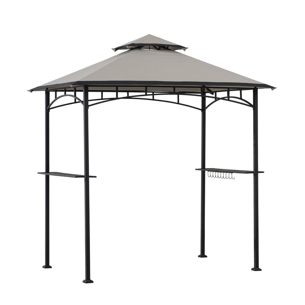 Sunjoy Marion 5 Ft X 8 Ft Black Steel 2 Tier Grill Gazebo With Gray And Black Canopy 169131 The Home Depot In 2020 Grill Gazebo Canopy Tent Outdoor Patio Gazebo