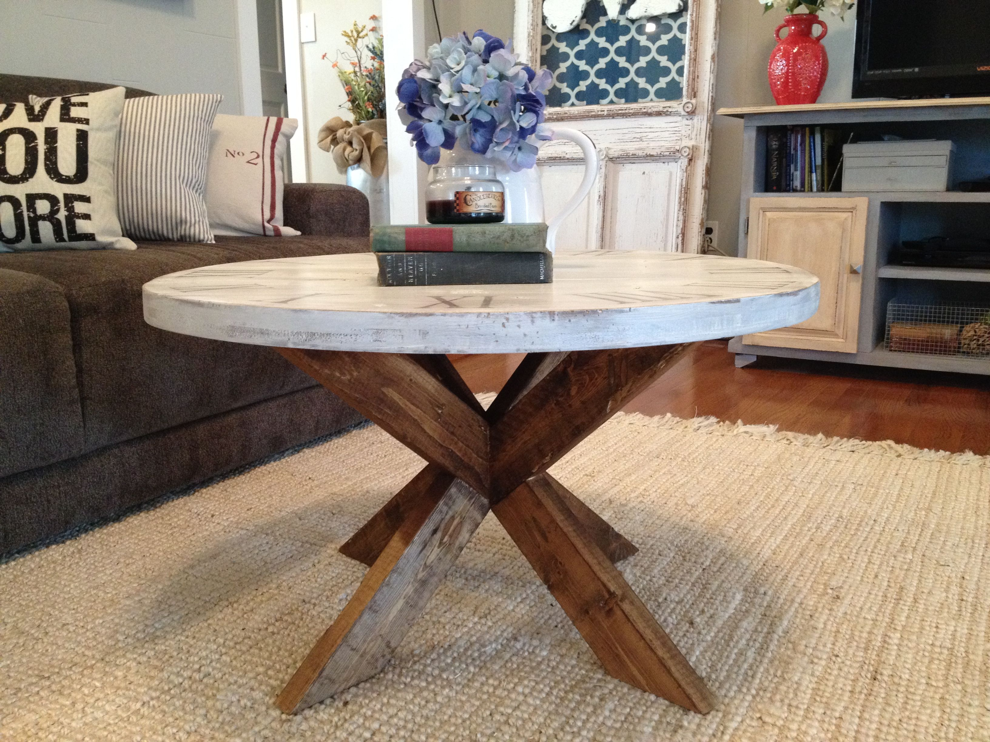Diy Coffee Table Easy X Base Table With Round Top Round Coffee Table Diy Diy Coffee Table Coffee Table Design [ 2448 x 3264 Pixel ]
