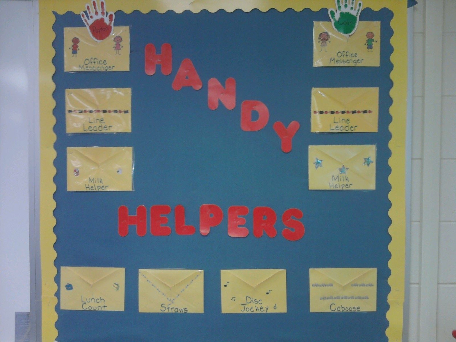 Classroom Helpers Board I Get Extra Card Envelopes From