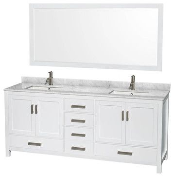 """Try to copy this look: Wyndham Collection Sheffield 80"""" White, White Carrera Marble, Square Sink contemporary-bathroom-vanities-and-sink-consoles"""