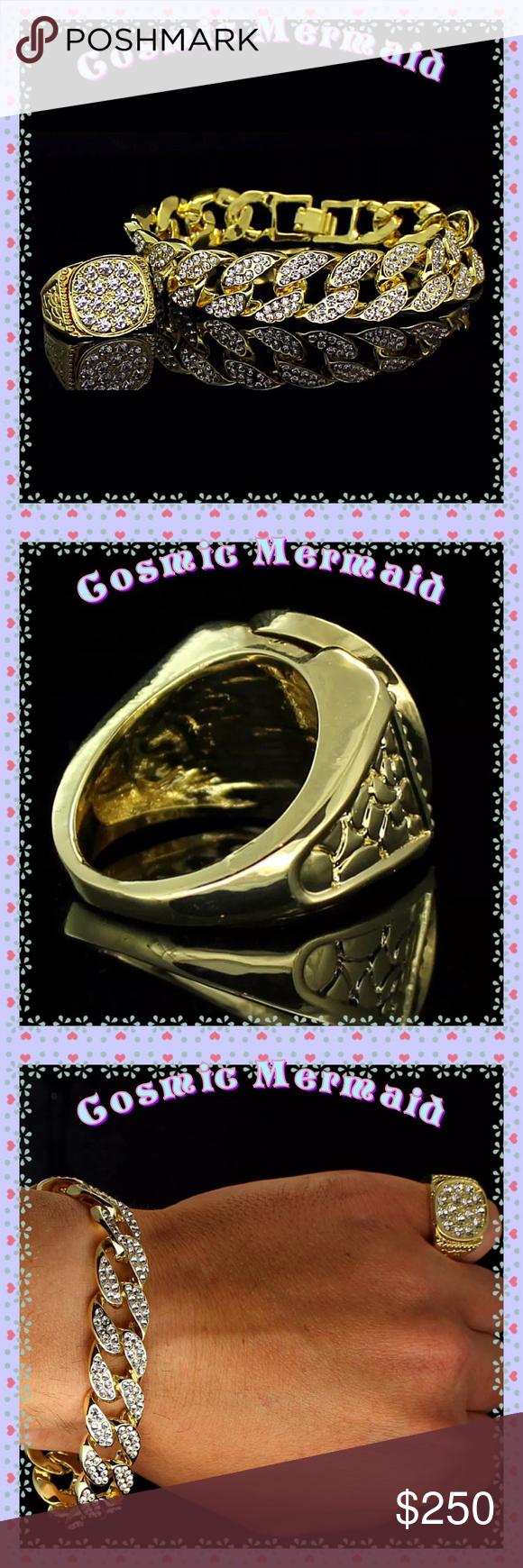 Kmens diamond braceletring set kgplabd mens pc