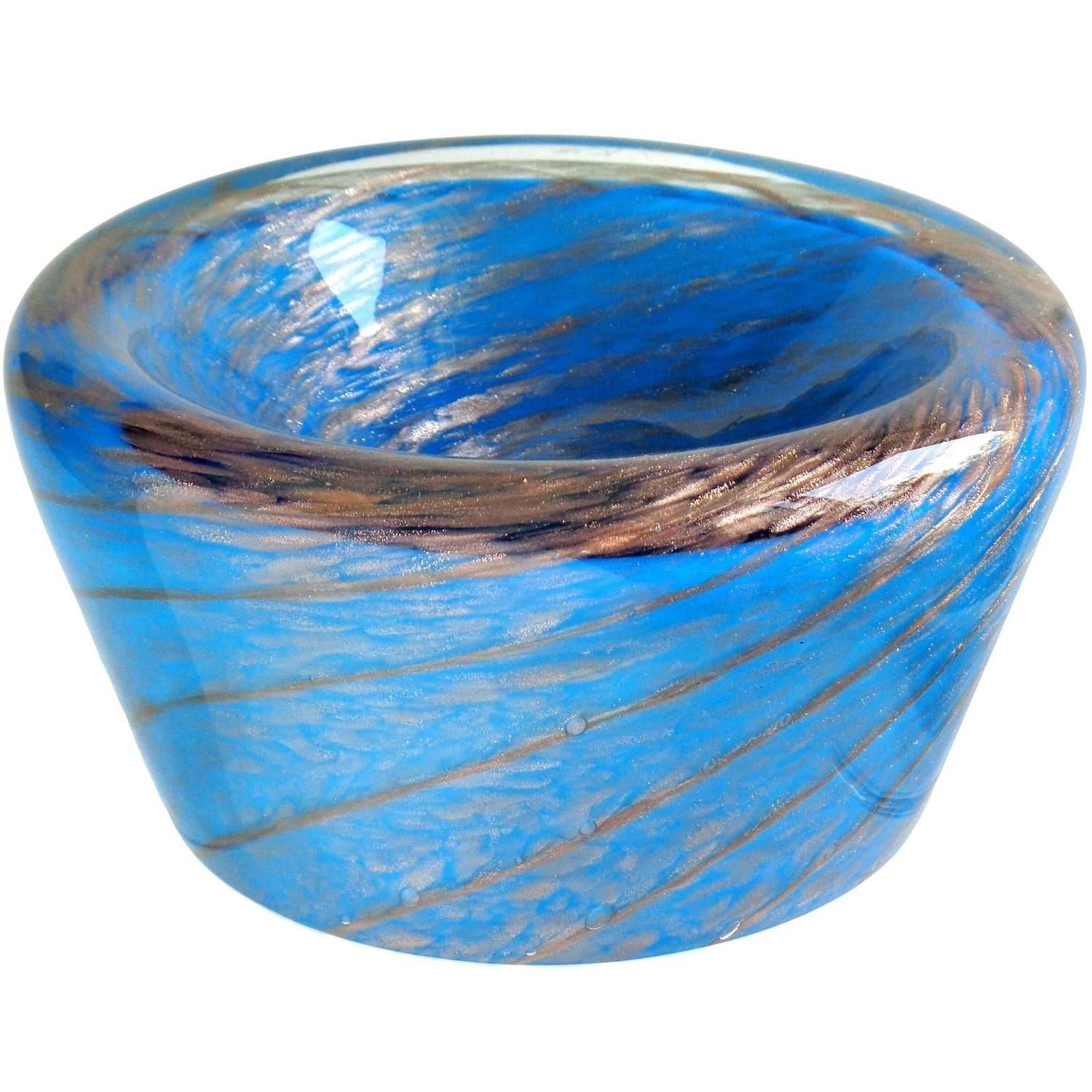 Blue Decorative Bowl Fratelli Toso Murano Blue Aventurine Swirl Italian Art Glass Bowl