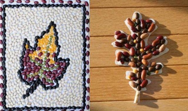 Herbst basteln kindern mosaiken machen mit linsen bohnen for Herbst bastelideen mit kindern