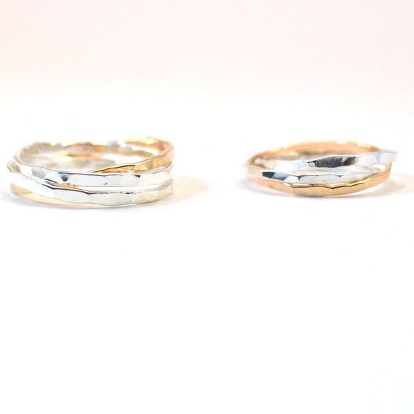 His and Hers Ring Set Unique Wedding Bands Silver Gold fill