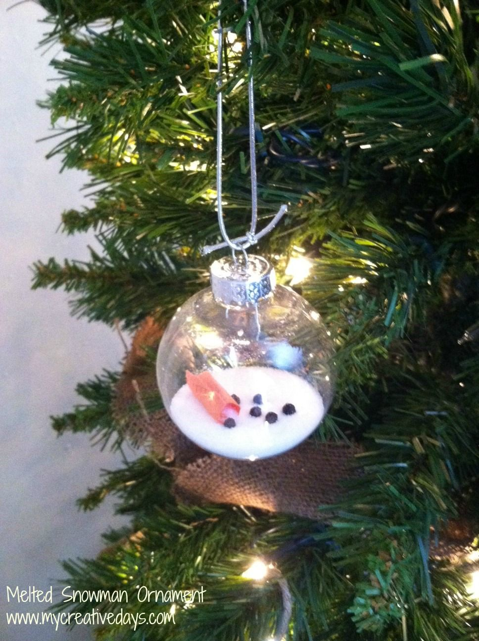 Homemade Christmas Ornament Melted Snowman Ornament