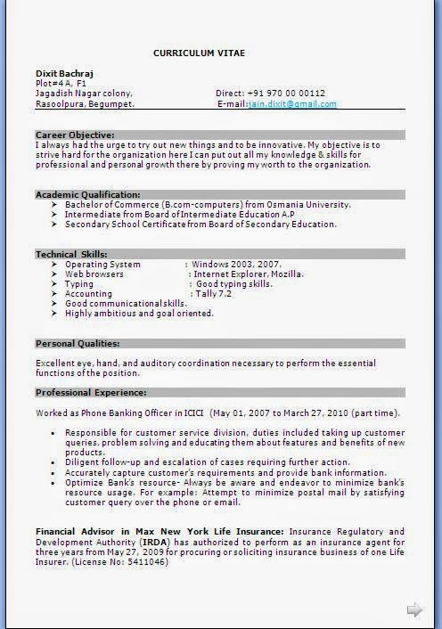 best resume templates 2013 Beautiful Curriculum Vitae   CV Format - career objective for finance resume