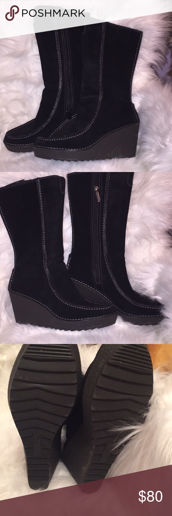 94acba78574 Pons Quintana star boot tall 38 Black Pons Quintana wedge boots with  leather exterior and suede exterior. These gorgeous boots are in pristine  condition.
