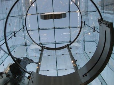 Glass elevator at the Apple store on Fifth Ave.