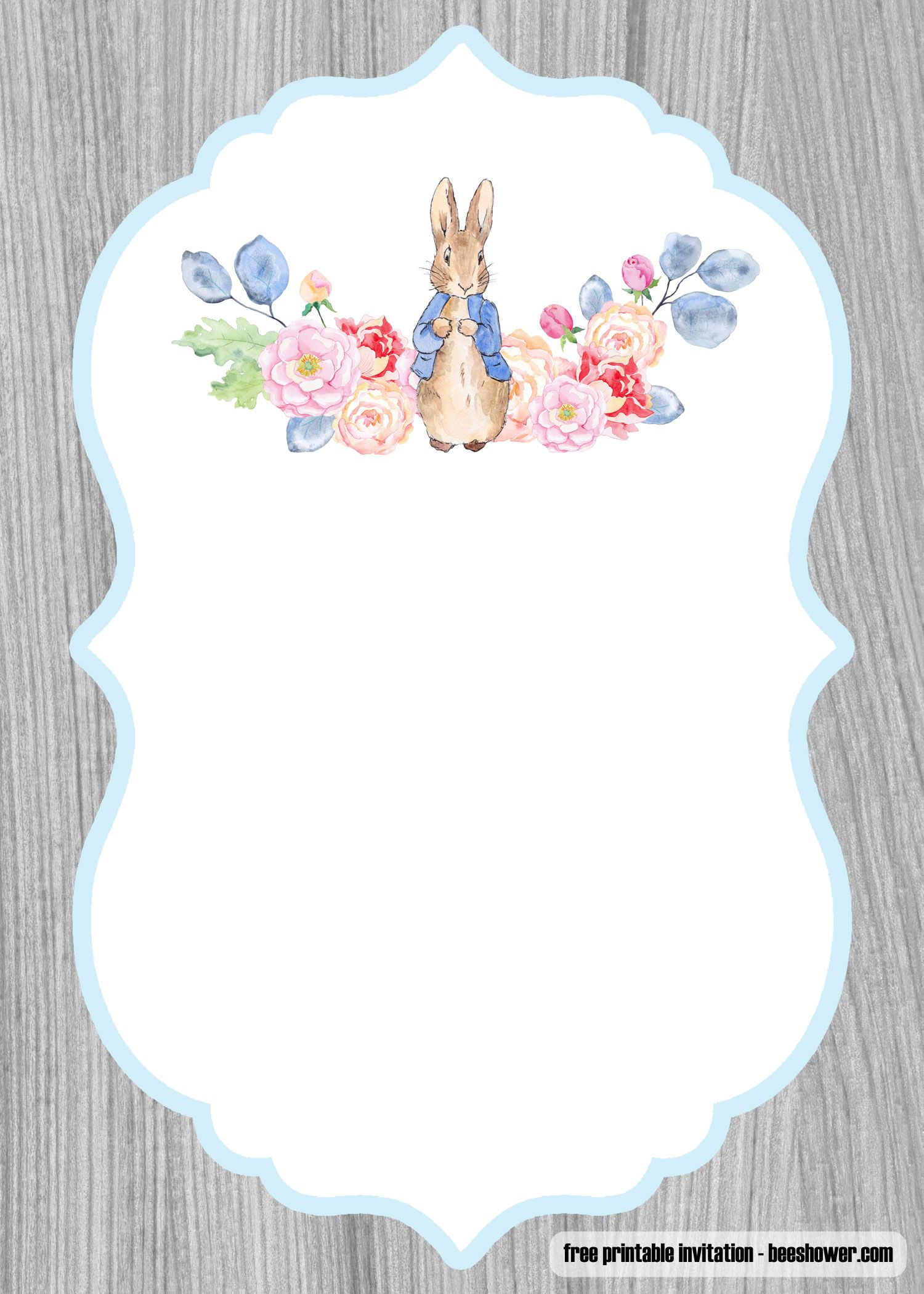 Download Now Free Peter Rabbit Baby Shower Invitations Templates