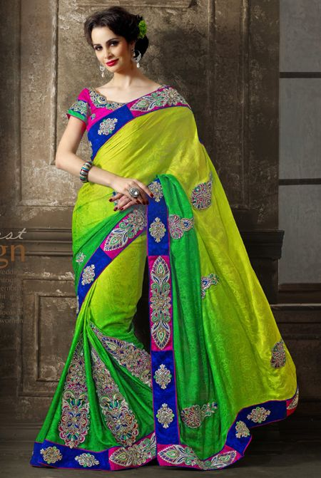 Buy Online Designer Parrot Green Lemon Yellow Saree With