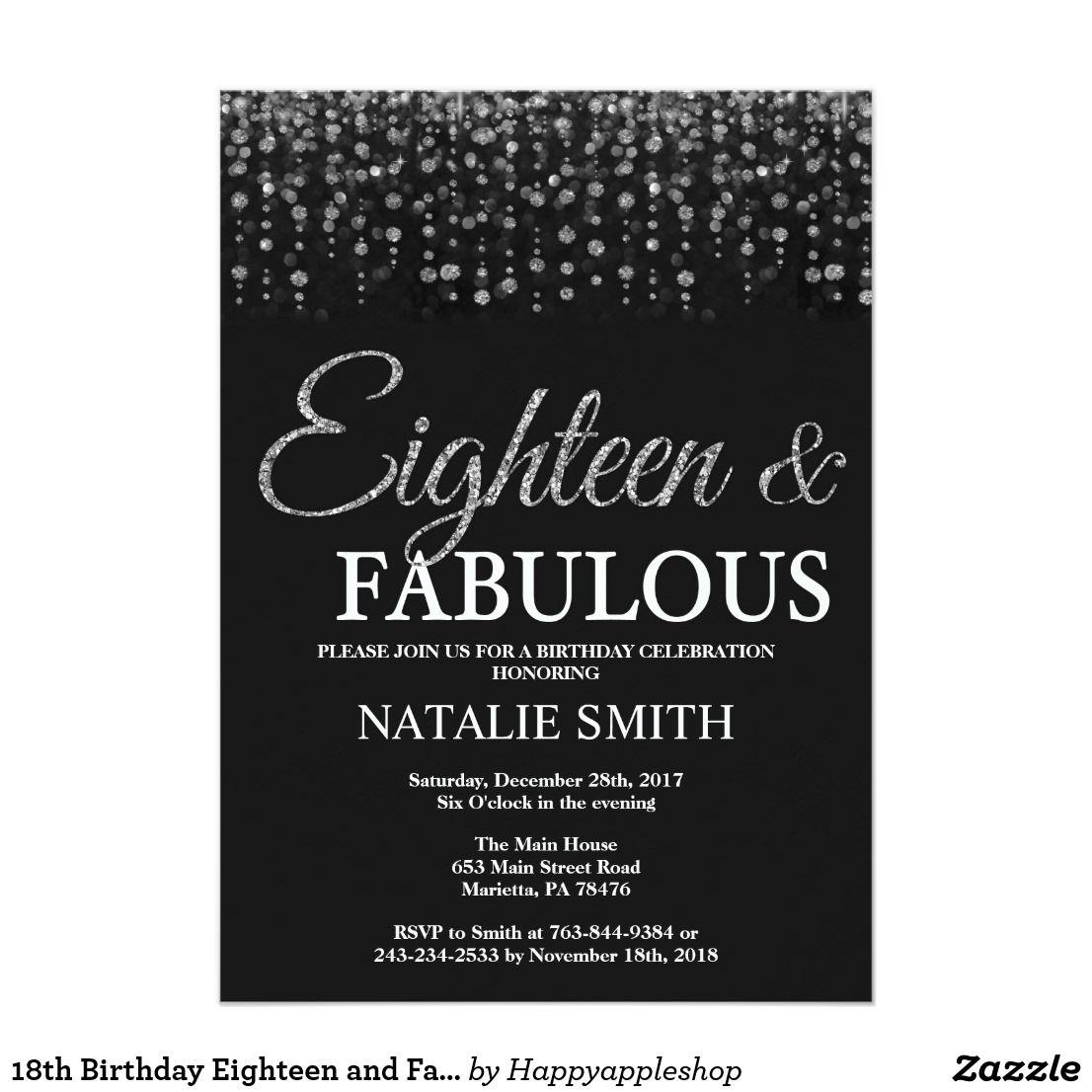 18th Birthday Eighteen And Fabulous Silver Glitter Invitation