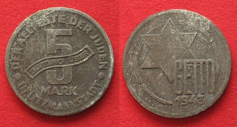 1943 Litzmannstadt Lodz Ghetto 5 Mark 1943 Alu Magnesium Axf 36761