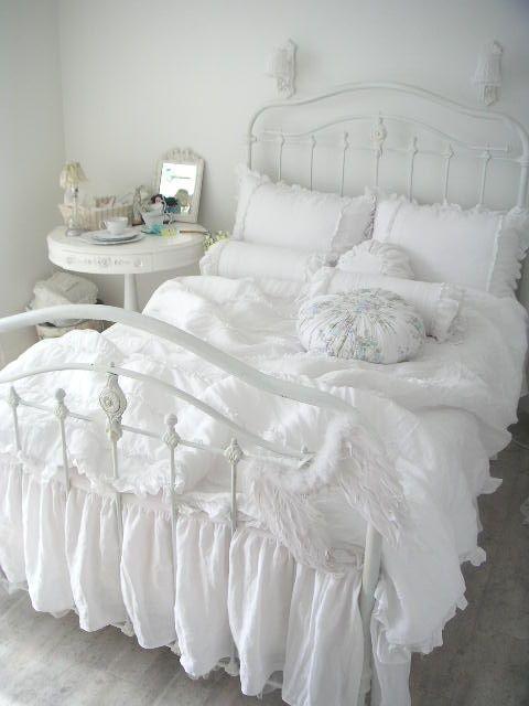 wonderful feminine chic bedroom ideas   Pin by Kathleen Marasco on ::WHITE on WHITE::   Shabby ...
