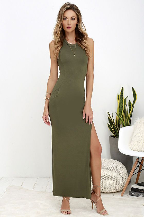 919645ce4f Don t underestimate the power of a chic dress like the Shield and Sword Olive  Green Sleeveless Maxi Dress! Jersey knit tops a fitted