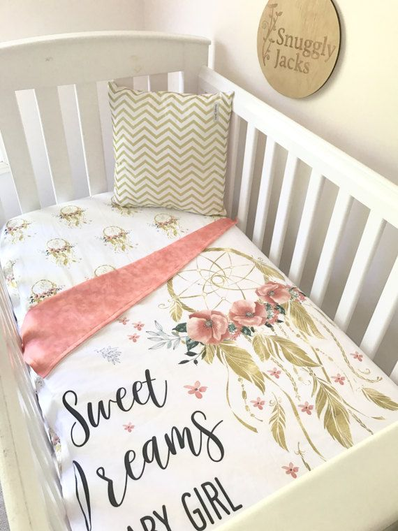Dream Catcher Crib Bedding Impressive Baby Girl Blanket Crib Quilt Gold Dreamcatcher Sweet Dreams Cot Inspiration