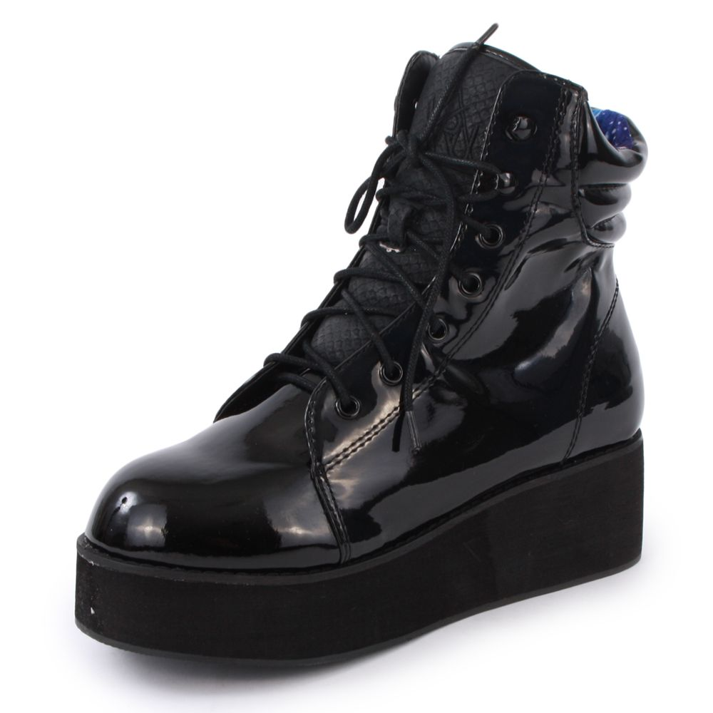 YRU Raze Womens Laced Synthetic Leather Platform Boots Black Patent
