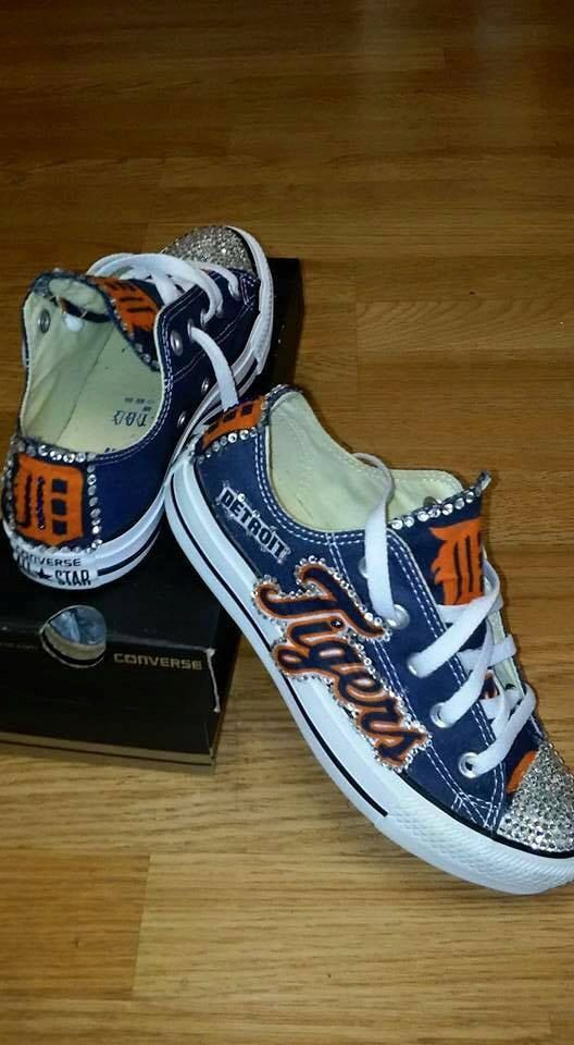 Customized Detroit Tigers Chucks. You provide the shoes...well do the rest.  You may provide any canvas shoes. Once purchase is made 91eddbda2128