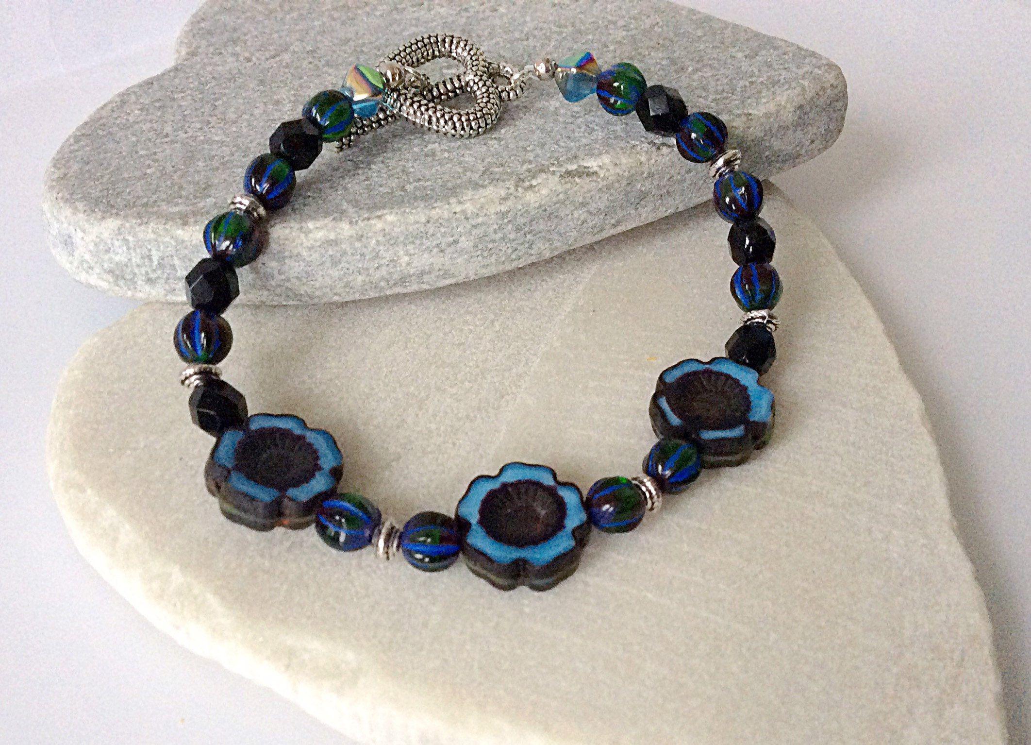 Beaded Teal and Black Flower Bracelet