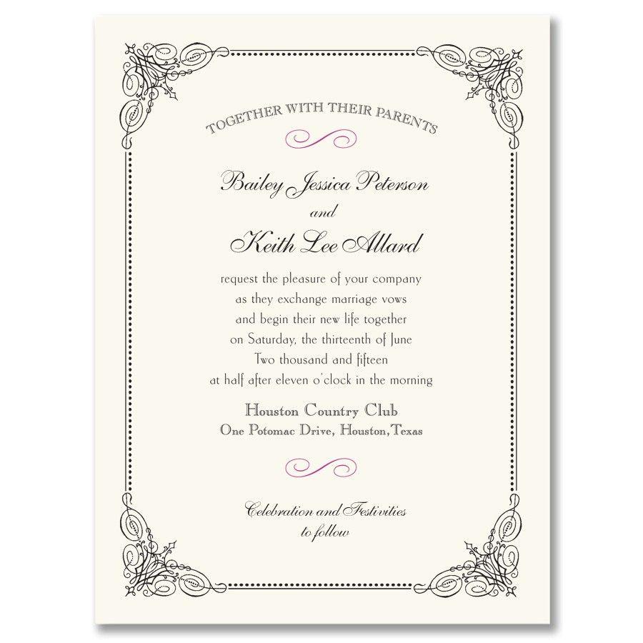 black vintage frame invitation | wedding | pinterest | vintage, Wedding invitations
