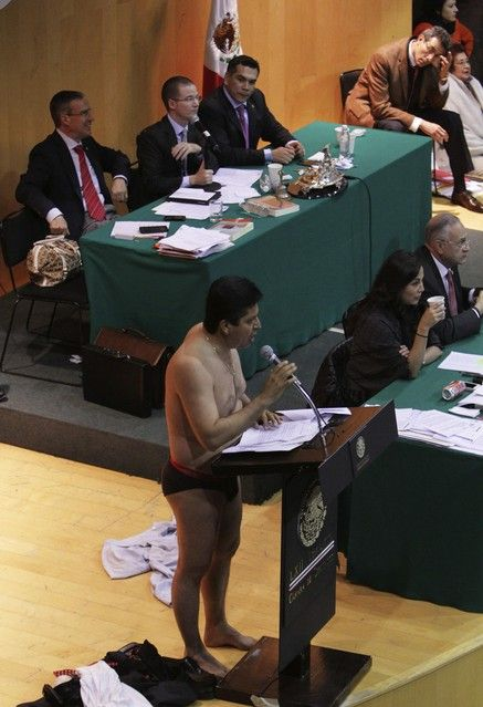 A SYMBOL: A man gave a speech in his underwear to symbolize the stripping of Mexico's oil wealth in Mexico City on Thursday. Mexico's Congre...