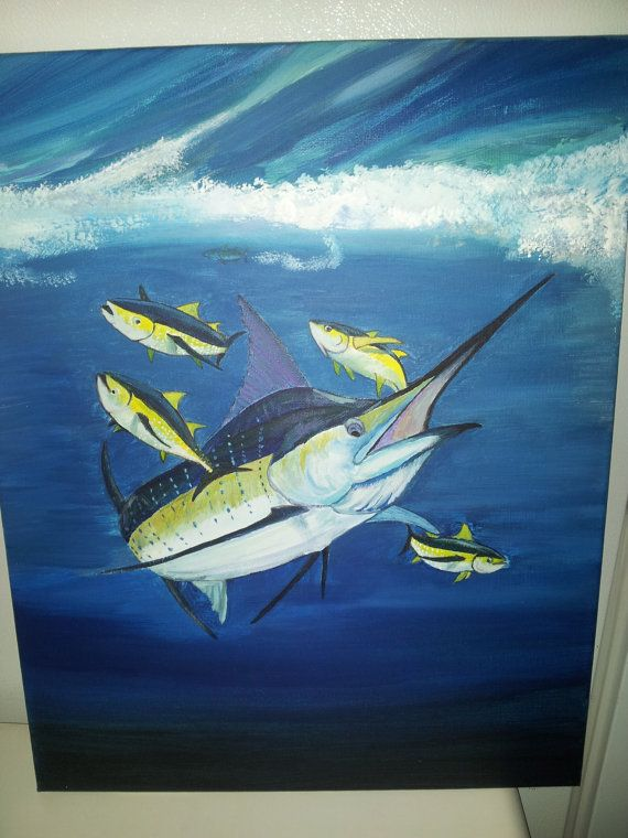 Marlin chasing Yellowfin Tuna by StarrattStudios on Etsy, $199.99