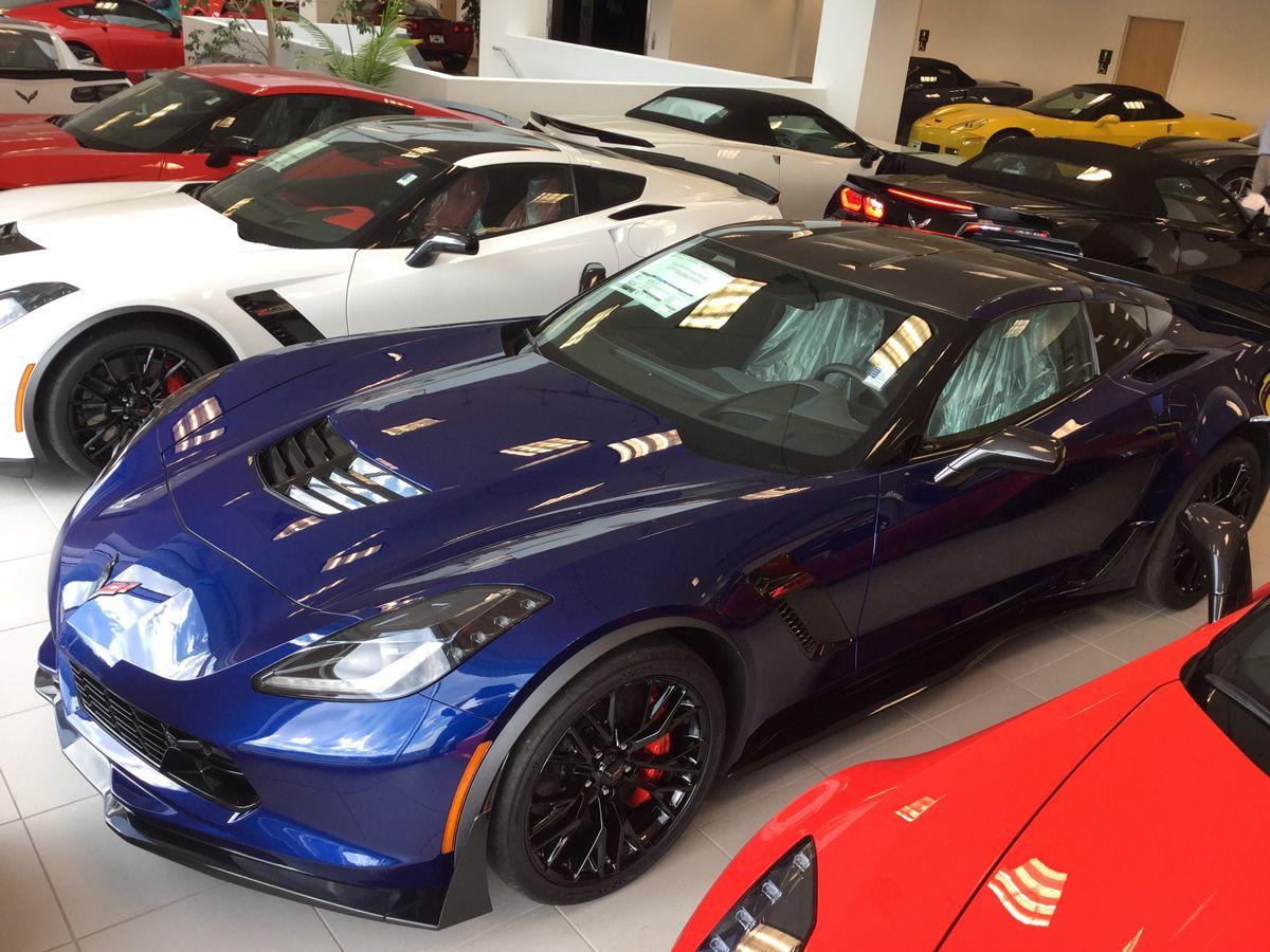 2016 Corvette Z06 With Admiral Blue Metallic Paint Dark Gray Leather Interior 3lz Trim Package Carbon Fiber Roof Panel An Corvette Corvette Z06 Classic Cars