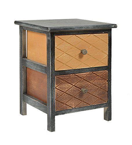 ts-ideen Kommode Schrank shabby schwarz Nachttisch 2 Schubladen - wohnzimmer beige braun schwarz