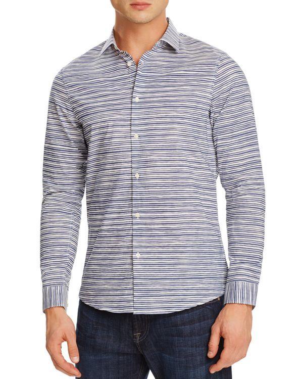 Michael Kors Leon Stripe Slim Fit Button Down Shirt