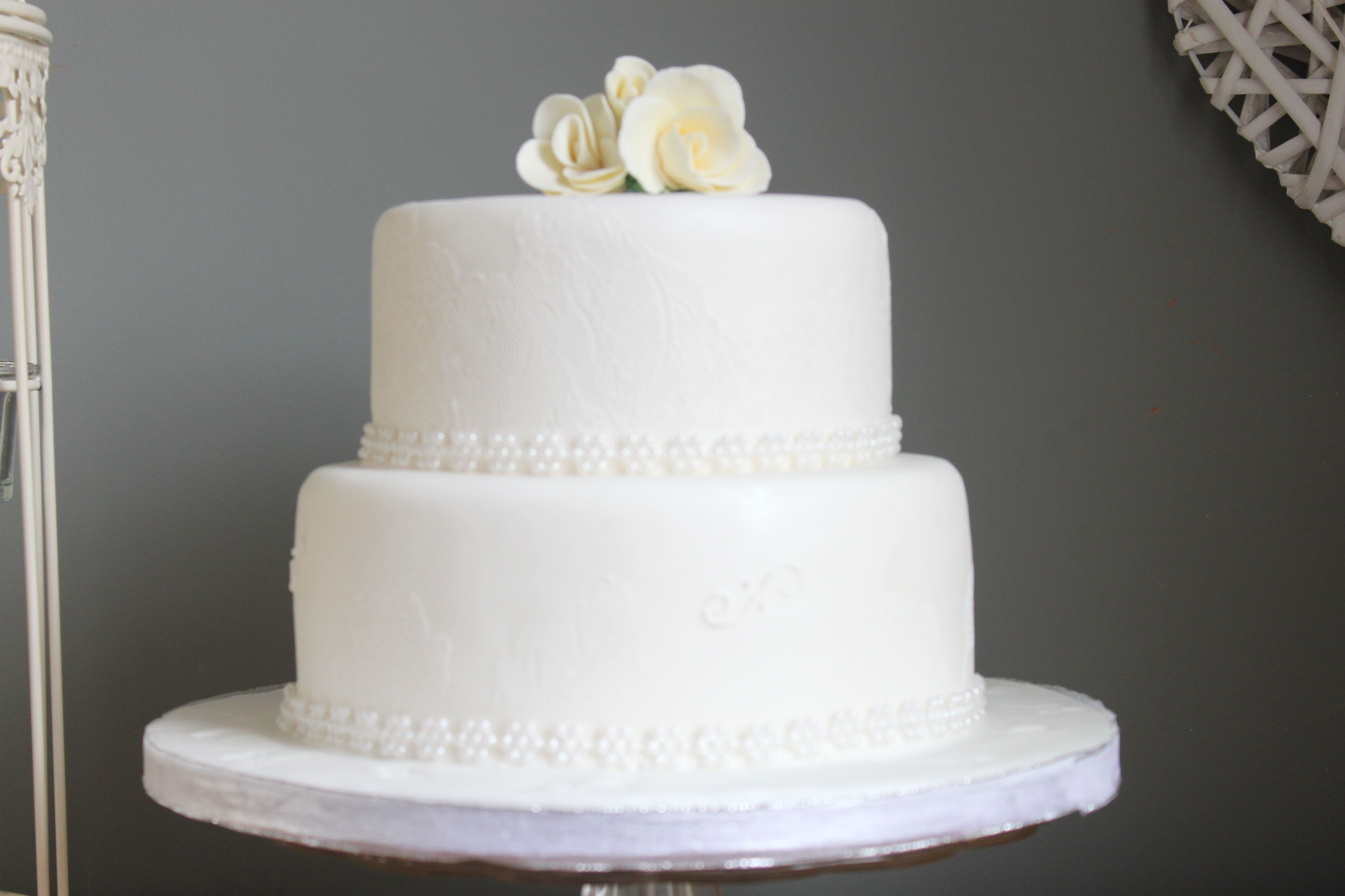 White Wedding Cake Two Tier Cakes Pinterest
