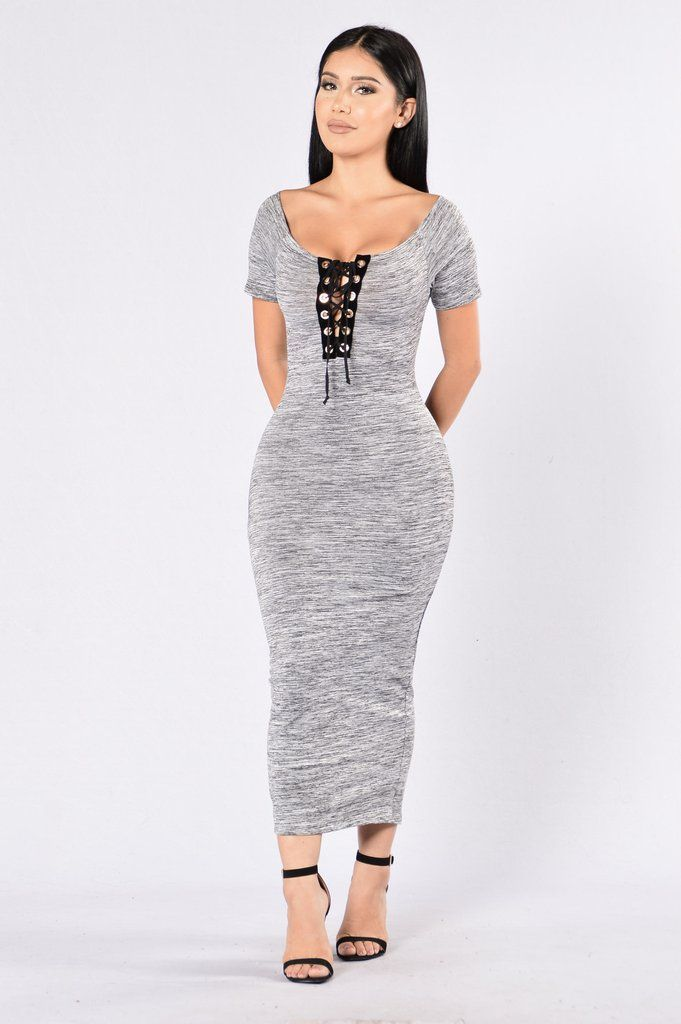 - Available in Grey - Off the Shoulder - Lace Up Front - Midi Length - Back Slit - 95% Polyester, 5% Spandex