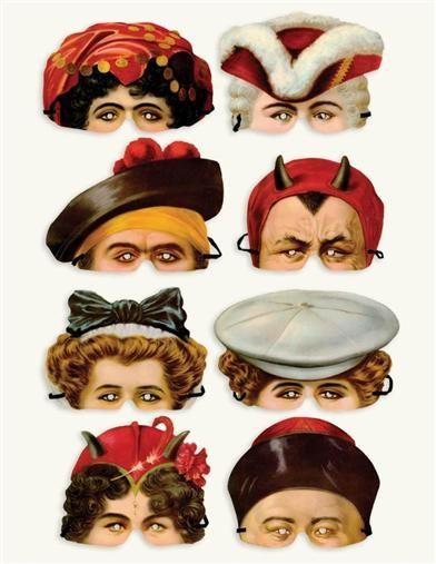 Edwardian Paper Masks Set Of 8 Paper Mask Paper Dolls Halloween Paper