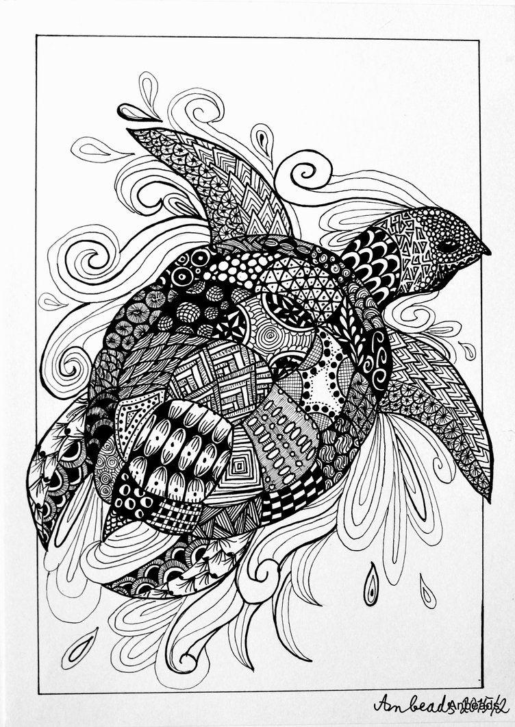 Zentangle Turtle By Anbeads On Deviantart Zentangle Artwork Turtle Art Zentangle Drawings