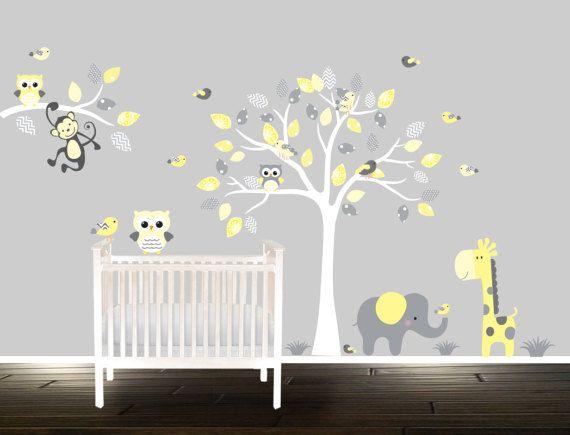 stickers muraux b b hibou enfants cr che d calque jaune chambre b b nursery nursery wall. Black Bedroom Furniture Sets. Home Design Ideas