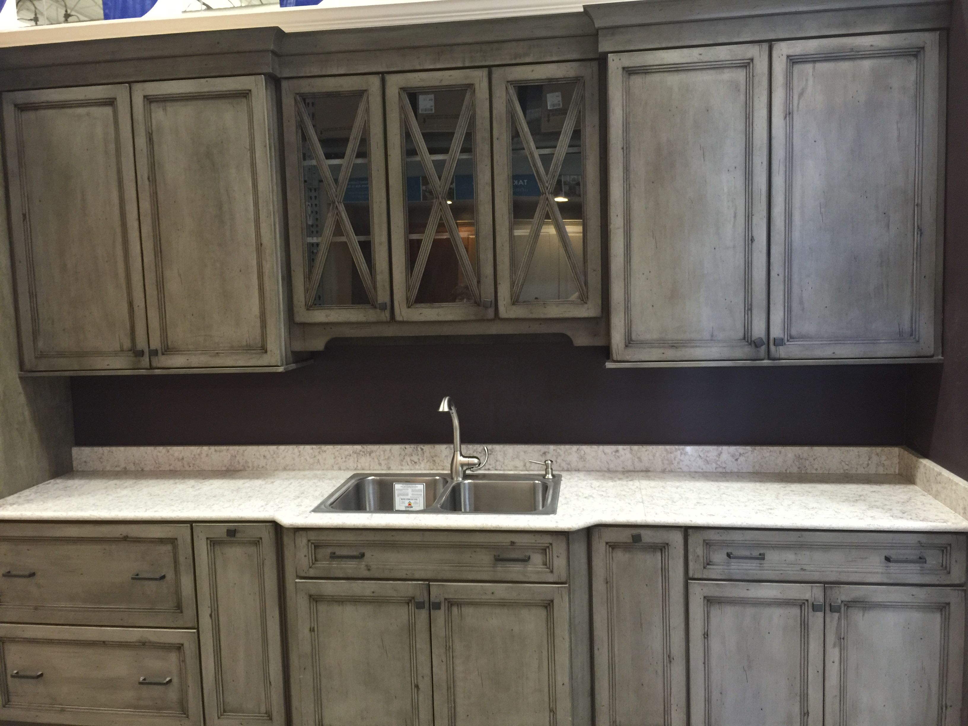 Weathered gray cabinets so pretty! | Grey cabinets ...
