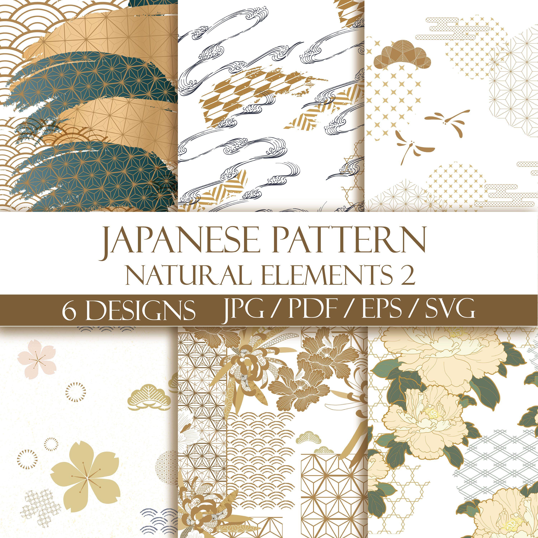 Seamless pattern Japanese pattern natural elements Blue and Old rose .4 designs EPS  jpg  pdf  svg Instant download Blue pattern