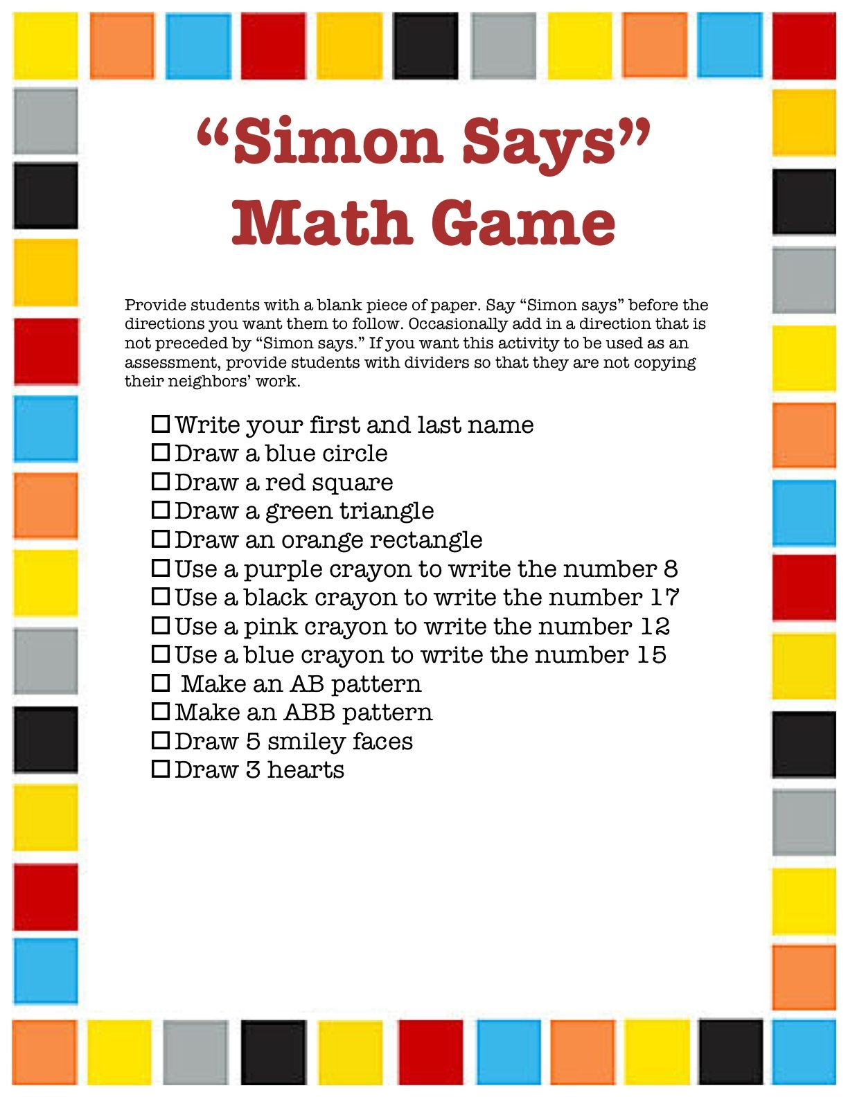 Simon Says Math Game