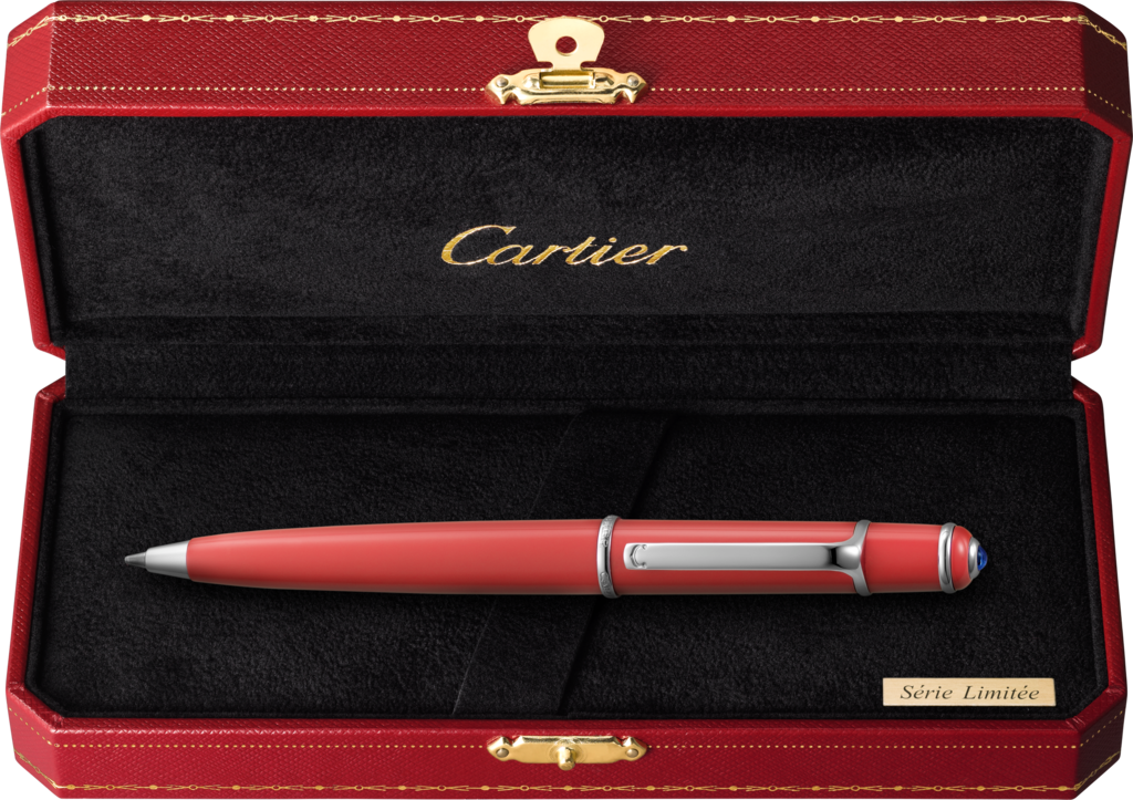 Diabolo de Cartier mini pen, coloured C de Cartier Fuchsia pink lacquer, polished palladium-finish details, blue resin cabochon