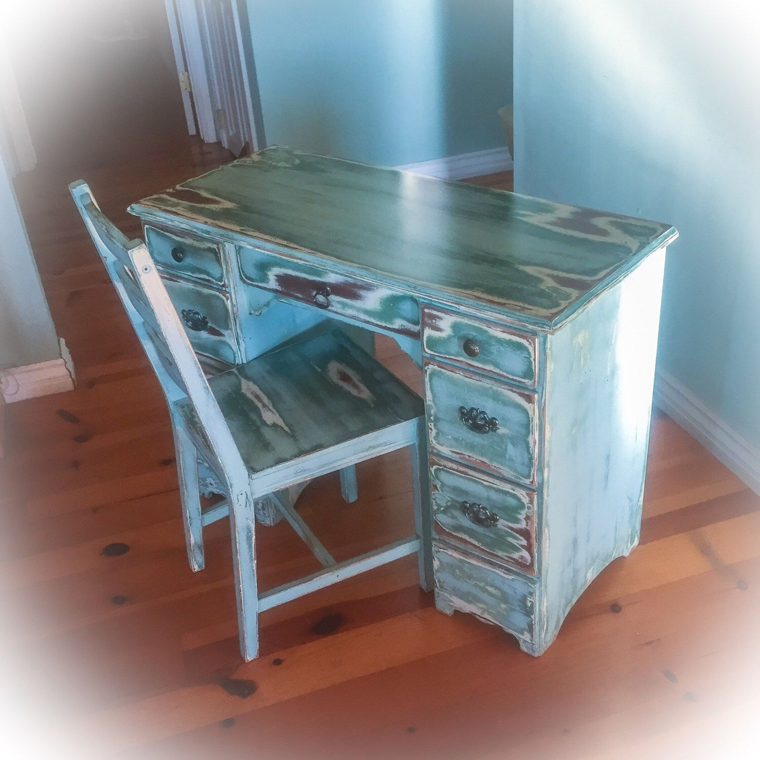 Antique desk w matching chair shabby chic vintage desk farmhouse