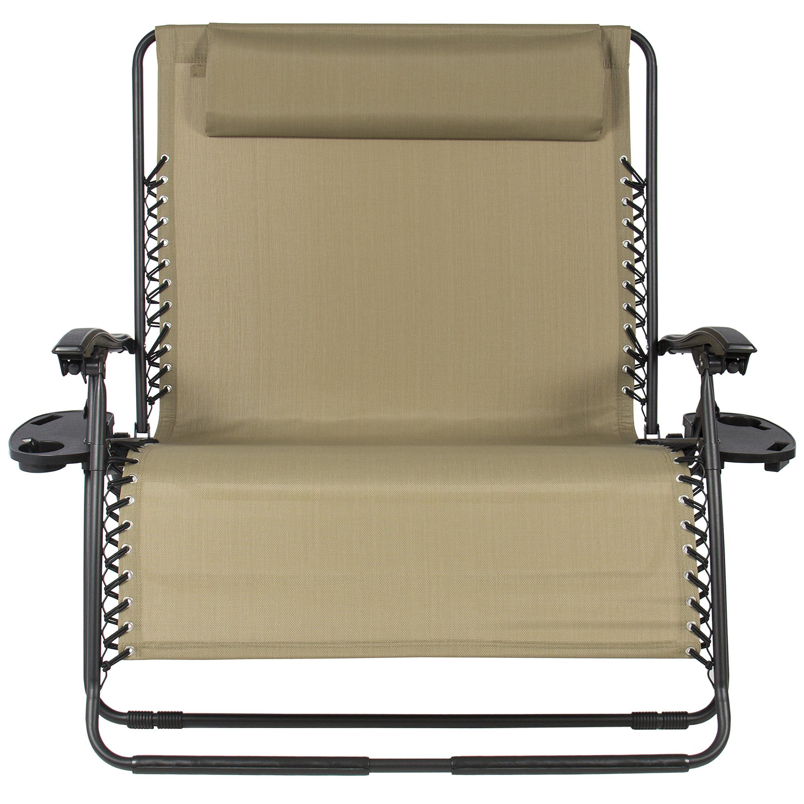 Best Choice Products Folding 2 Person Oversized Zero Gravity Lounge Chair W Accessory Trays