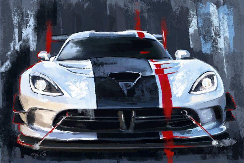 Viper SRT ACR toile peinture voiture de sport. art automobile | Etsy