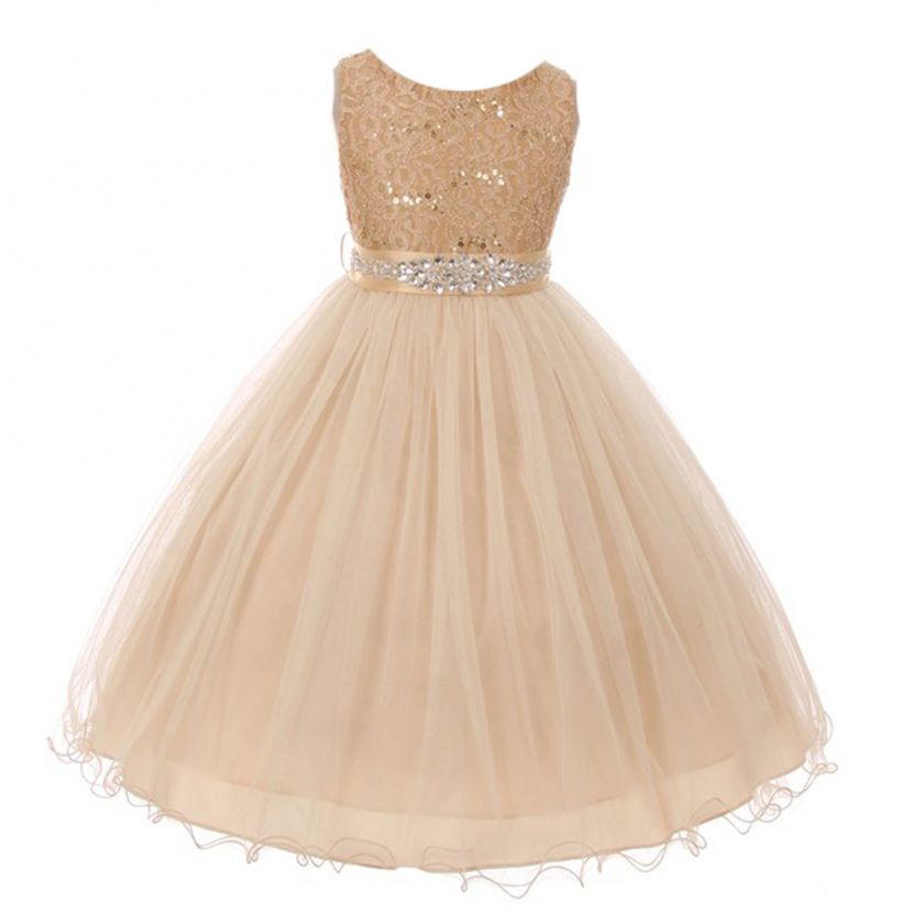 New Girls Yellow Bridal Lace Tulle Dress Wedding Pageant Easter Party Formal 414