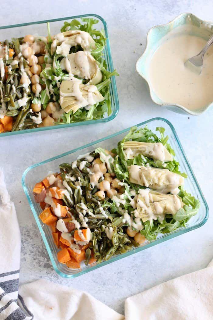 Vegan Mediterranean Meal Prep Bowls - Hummusapien #crockpotmealprep