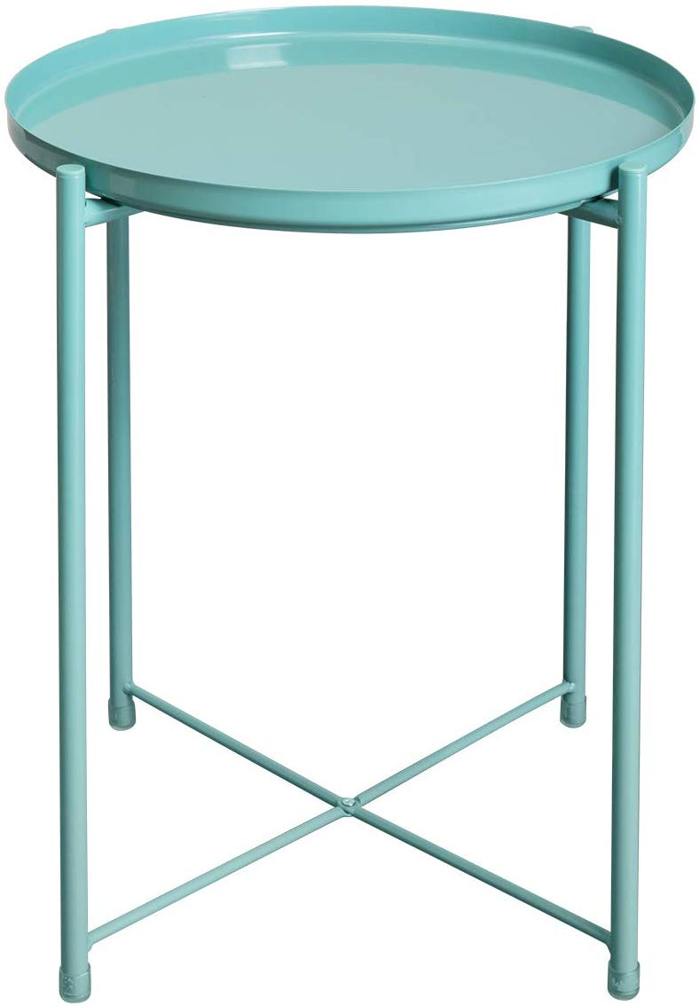 Amazon Com Hollyhome Tray Metal End Table Sofa Table Small Round Side Tables Anti Rust And Waterpro Metal End Tables Small Round Side Table Round Side Table