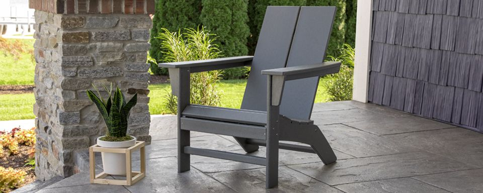 St Croix Contemporary Adirondack Chair Slate Gray Polywood