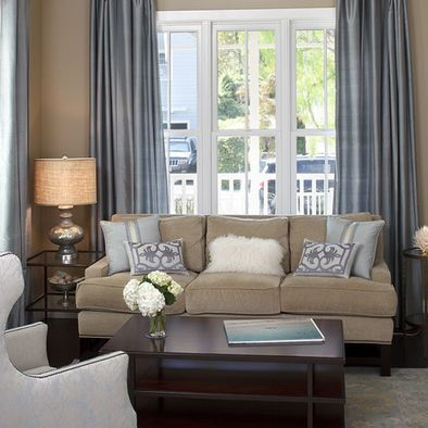 Traditional Living Room Blue And Brown Living Room Design, Pictures