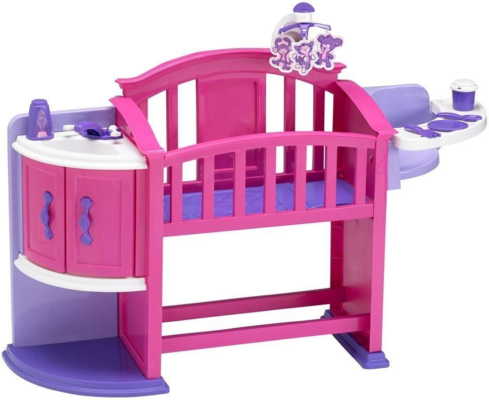 Baby Doll Crib Highchair Nursery Kitchen Sink Dishes Set Kids Play