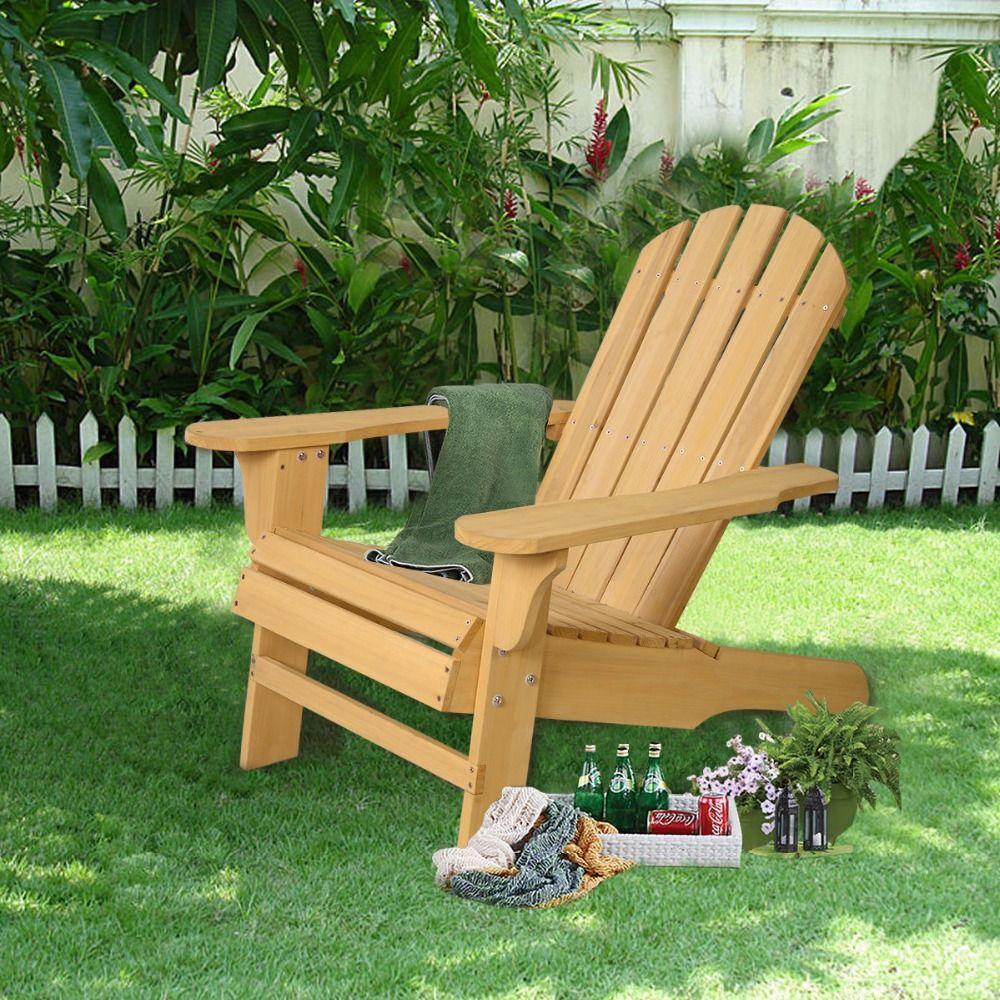 New Outdoor Natural Fir Wood Adirondack Chair Patio Lawn Deck Garden